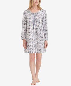 172a78dd01 Cotton Sleepshirts - Eileen West Cap Sleeve Knit Nightshirt in Sherwood Vine  in 2018