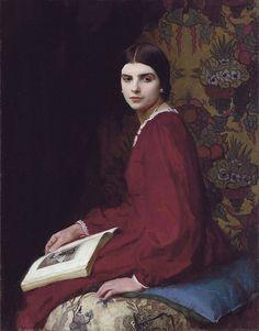 ✉ Biblio Beauties ✉ paintings of women reading letters & books - George Spencer Watson   Portrait of Betty McCann, 1927