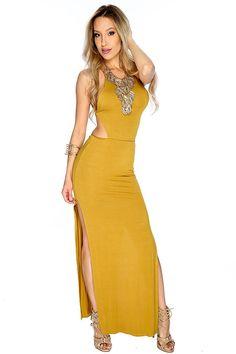 u back maxi dress double slit