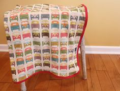 VW Van Bus Organic Interlock Knit Blanket. I have to get one, too cute!