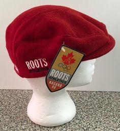 Roots Athletics Canada Olympics Nagano 1998 Red Nordic Poor Boy Hat Cap Medium  #Roots #Canada