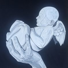 Author: Giò Max Ran Title: The Birth of an Angel Measurements: 100cm x 100 cm Technique Acrylic on canvas