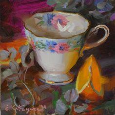 "Daily Paintworks - ""Teacup and Orange Slice"" - Original Fine Art for Sale - © Elena Katsyura"