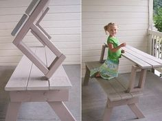 Folding picnic table converts to 2 benches