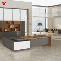 Source Panel Wood Style Luxury L-shaped Executive Office Des Modern Office Table, Office Table Design, Office Furniture Design, Office Interior Design, Office Interiors, Contemporary Office, Office Designs, Executive Office Furniture, Modern Executive Desk