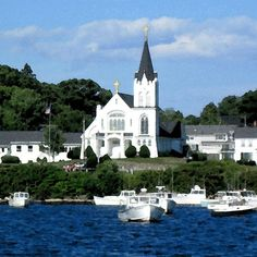 Coastal Maine, Our Lady Queen Of Peace Church, Landscape/Architecture, Boothbay Harbor, Maine, Watercolor Photograph, Pure New England Charm...