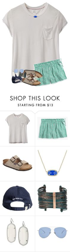"""""""hi friends!! rtd!"""" by legitmaddywill ❤ liked on Polyvore featuring RVCA, J.Crew, Birkenstock, Kendra Scott, Boutique+ and Kaleos"""