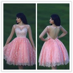 2016 Pink Beaded Lace Mini Homecoming Dress Homecoming Dresses Hot