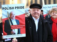 Polish man launches political party to support European immigrants -  A new political party called Polish Pride was launched outside Parliament today  Party whose full name is Duma Polska: Polish Pride plans to field 100 candidates in the London council elections on May 3  Brainchild of Prince John Zylinski 65 a millionaire property developer of Polish heritage best known for challenging Nigel Farage to a duel  Party will support eastern European immigrants and demand that 'Europhobia' be…