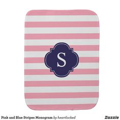 Pink and Blue Stripes Monogram Baby Burp Cloth #babygifts #giftsforbaby #baby