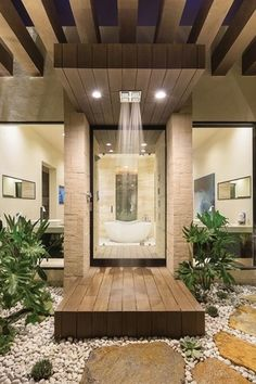 Contemporary Master Bathroom with Outdoor shower, Pathway, Rain shower, French doors, Trellis