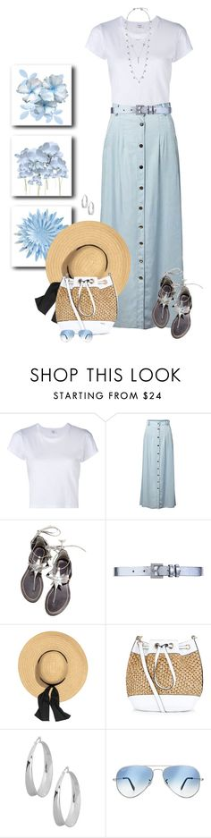 """""""New skirt"""" by sherry7411 ❤ liked on Polyvore featuring RE/DONE, Chicnova Fashion, WithChic, Maison Boinet, New Look, Robert Lee Morris, Ray-Ban and Lucky Brand"""