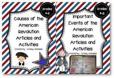 two separate article packs Causes of the American Revolution Informational Articles and Activities and American Revolution Articles and Activities for Important Events in the Revolutionary War