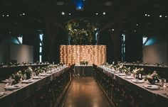 Stylish reception at the Yaletown Roundhouse in Vancouver, BC. Decor by Petite Pearl Events. Photo by Dallas Kolotylo Photography.