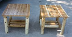 Large end table with red cedar tops.