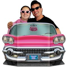 "Create amazing photo ops with ""life-size"" pink Cadillac cardboard cutout party decorations. They're the perfect prop for outstanding party memories! 50s Party Decorations, 50s Theme Parties, Party Props, Party Themes, Party Ideas, Dance Decorations, Theme Ideas, Decor Ideas, Pink Cadillac"