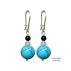 Turquoise Blue 10mm Round, 925 Sterling Silver Earrings, Pendants Charm - Choose Style - Handmade - Natural Stones - Jewelry - FREE SHIPPING de ArtGemStones en Etsy