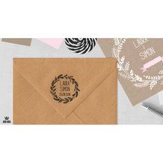 Tampon mariage personnalisé prénoms & date issu de la collection Lin & Branchage