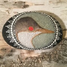 Western Grebe Bird Painting Painted Stone Painted by FiggyMoss