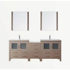 Virtu USA Dior 82 in. Double Vanity in Dark Oak with Ceramic Vanity Top in White and Mirrors-KD-70082-C-DO at The Home Depot