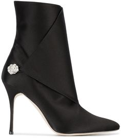ffb0fed61dc Manolo Blahnik Black diazhigri 100 satin boots Classy Heels