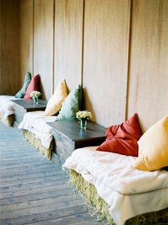 hay bale lounge seating