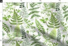 """14"""" Woodland green forest botanical - - Spoonflower Plant Rooms, Room With Plants, Summer Garden, Custom Fabric, Spoonflower, Woodland, Plant Leaves, Craft Projects, Quilts"""