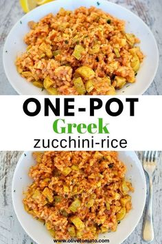 Delicious and easy Greek one-pot zucchini rice! #zucchini #mediterraneandiet #greekfood #easyrecipe Healthy Dishes, Healthy Eating, Healthy Recipes, Vegetarian Recipes, Healthy Food, Clean Eating, Mediterranean Diet Recipes, Mediterranean Dishes, Greek Recipes