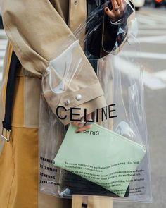 Celine Clutch Pouch Bag Turquoise and PVC Transparent Plastic ... 795e31fea6dcc