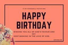 Sweet Happy Birthday Messages, Happy Birthday Pastor, Wife Birthday Quotes, Happy Birthday Woman, Happy Birthday Wishes, Birthday Message To Myself, Birthday Wishes For Myself, Gods Favor, Pastors Wife