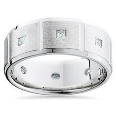 Mens 3/4ct Princess Cut Diamonds Wedding Ring New Band