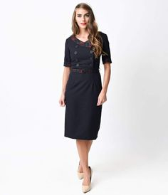 7d8e9550f8449 Collectif 1940s Style Navy Yvonne Hanna Check Crepe Pencil Dress 1940s  Fashion Dresses, 1940s Dresses