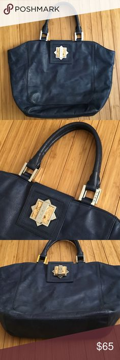 L.A.M.B navy leather large bag L.A.M.B Gwen Stefani handbag in good preowned condition large size . L.A.M.B. Bags Totes
