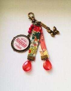 Bijoux de Sac Liberty Fleurs papillon Cabochon Maman perles Bronze Rouge Rose : Autres bijoux par heaven-s-shop
