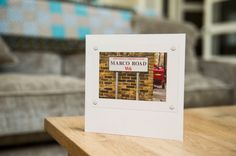 This beautifully photographed street sign has been turned into a unique and unforgettable greetings card. Marco Road in West London makes a