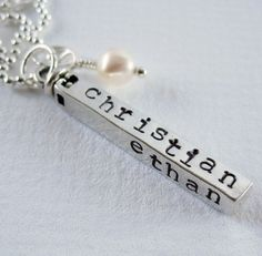 I ♥ this... Swivel bar personalized necklace. You can add up to 4 names on it! It's different! It's beautiful.