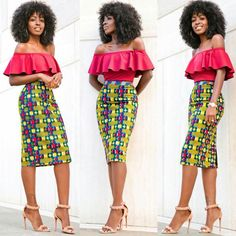 Off Shoulder Frill Top + Printed Pencil Skirt Outfit Details: Top: Available here or here in tan African Dresses For Women, African Print Dresses, African Attire, African Wear, African Women, African Prints, African Style, African Outfits, African Inspired Fashion
