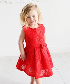 Look at this Red Lace Sleeveless Dress - Toddler & Girls on #zulily today!