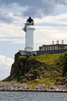DAVAAR ISLAND lighthouse at the mouth of Campbeltown Loch on the Mull of Kintyre, Scotland.