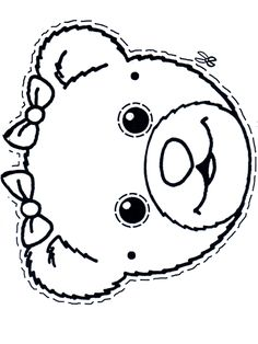 Little bear mask colouring page - possible sunglasses. Lots of masks on this site - as well as many colouring pages, Card making, crafts, etc. #sunglasses