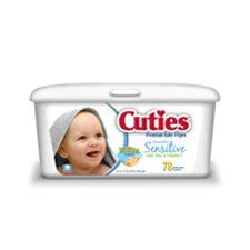 Cuties CR-340 Unscented Baby Wipes - 960/Case by Cuties. $54.63. Clinically tested for mildness to skin. 960/Case. Audible Click so you know when its closed. A unique thick 3-layer wipe that has been specially designed so that the outer two layers are quilted and cotton enhanced for superior cleaning while being gentle on baby's skin. Save 18%!