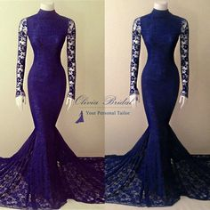 Dress Details: Fabrics: Lace Technics: Applique (100% Handwork) Silhouette: Mermaid Neckline: High Neck  Back: Zipper Waist: Natural Built-in Bra: Yes Hemline/Train: Court Train Sleeve Length: Long Sleeves Embellishments: Lace Shown Color: Purple ***************** Processing Time: 15...