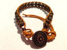 Goldenrod Picasso czech glass bead bracelet with by ValiantMosaic, $20.00