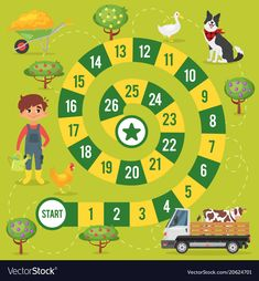 Kids farm board game vector image on VectorStock Farm Animals Games, Animal Games, Space Activities, Activity Games, Board Game Template, Lego Math, Human Body Unit, Instagram Frame Template, Counting Games