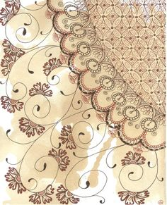 Zentangle lace on TeaStain paper