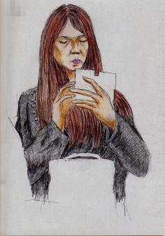 長い茶色の髪のお姉さん(通勤電車でスケッチ)This is a woman of sketch that was the long hair. I drew in a commuter train.