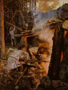 The Forging of the Sampo. Painting by Akseli Gallen-Kallela, depicting a scene from Kalevala, a Finnish epic poem. Smith Ilmarinen is forging the magical mill called Sampo, a centerpiece in many of Kalevala's stories. Scandinavian Paintings, Scandinavian Art, Helene Schjerfbeck, Asgard, Fantasy, Romanticism, Gods And Goddesses, Art Reproductions, Blacksmithing