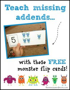 So fun! Teaching missing addends with monster flip cards. Free printable. {The Measured Mom}