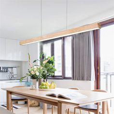 Linear Pendant Lighting, Island Pendant Lights, Wood Pendant Light, Pendant Light Fixtures, Dining Room Lighting, Bar Lighting, Modern Lighting, Lighting Ideas, Kitchen Island Lighting Modern