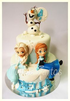 I was hoping to have the oportunity to make Elsa and Anna, and here they are! with Olaf, of course (Frozen Cake Ice) Torte Frozen, Bolo Frozen, Disney Frozen Cake, Frozen Theme Cake, Frozen Birthday Cake, Disney Cakes, Birthday Cakes, 3rd Birthday, Frozen Fondant